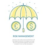 Risk management logo. Risk management - safety investment plan,financial analysis and business strategy control concept vector icons.Euro and Dollar coins Royalty Free Stock Photos