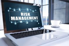 Risk Management. Text on modern laptop screen in office environment. 3D render illustration business text concept Royalty Free Stock Images
