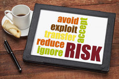 Risk management strategies. Ignore, accept, avoid, reduce, transfer and exploit - word cloud on a digital tablet Stock Photos