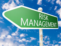 Risk Management. Street sign illustration in front of blue sky with clouds Royalty Free Stock Photo