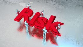 Risk management teamwork group carry risk. Group of silver people carry the huge red metal word risk on wet metal floor risk management concept 3D illustration Royalty Free Stock Photography