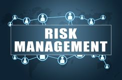 Risk Management. Text concept on blue background with world map and social icons Stock Photo