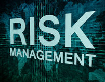 Risk Management. Text concept on green digital world map background royalty free stock image