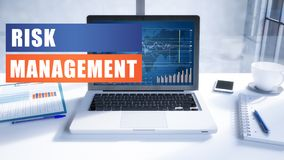 Risk Management. Text concept with modern laptop screen in office environment. 3D render illustration business text concept Royalty Free Stock Photography