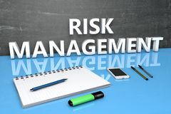 Risk Management text concept. Risk Management - text concept with chalkboard, notebook, pens and mobile phone. 3D render illustration Stock Images