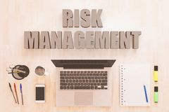 Risk Management text concept. Risk Management - text concept with notebook computer, smartphone, notebook and pens on wooden desktop. 3D render illustration Stock Photos