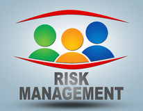 Risk Management. Text illustration concept on grey background with group of people icons Royalty Free Stock Photos