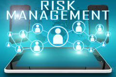 Risk Management. Text illustration with social icons and tablet computer and mobile cellphones on cyan digital world map background Stock Images
