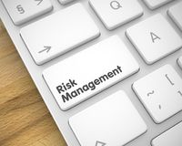 Risk Management - Text on White Keyboard Button. 3D. Stock Images