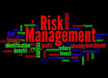 Risk Management, word cloud concept 4. Risk Management, word cloud concept on black background Royalty Free Stock Photos