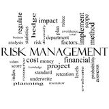 Risk Management Word Cloud Concept in black and white. With great terms such as total, factors, levels, financial and more Stock Photo