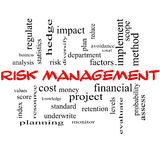 Risk Management Word Cloud Concept in red caps. With great terms such as total, factors, levels, financial and more Royalty Free Stock Images