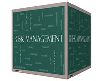 Risk Management Word Cloud 3D Cube Blackboard. Risk Management Word Cloud Concept on a 3D cube Blackboard with great terms such as total, factors, levels Royalty Free Stock Photos