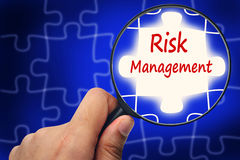 Free Risk Management Word. Magnifier And Puzzles. Royalty Free Stock Images - 56275189