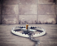 Risk for the money. Dangerous steel mouse trap with bait money Stock Image