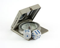 Compass and gamble dices  Royalty Free Stock Photography