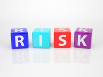 Risk out of multicolored Letter Dices Stock Image
