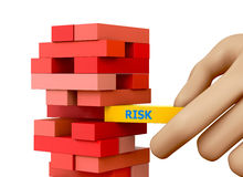 Risk. Planning, risk and strategy in business, businessman gambling placing wooden block on a tower 3d rendering Royalty Free Stock Image