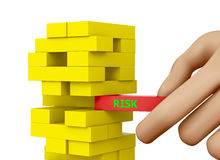 Risk. Planning, risk and strategy in business, businessman gambling placing wooden block on a tower 3d rendering Stock Images