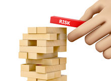Risk. Planning, risk and strategy in business, businessman gambling placing wooden block on a tower 3d rendering Royalty Free Stock Photography