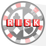 Risk poker concept button. poker chip Stock Image