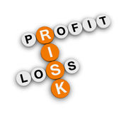 Risk profit loss. Crossword puzzle Royalty Free Stock Photography