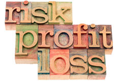 Risk, profit, loss word abstract Stock Photo