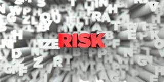 RISK - Röd text på typografibakgrund - 3D framförde fri materielbild för royalty Royaltyfri Fotografi