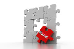 Risk on red puzzle piece Royalty Free Stock Image