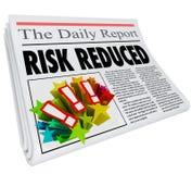 Risk Reduced Newspaper Headline Lower Danger Level. Risk Reduced words in a newspaper headline and article reporting better, improved or lower danger levels vector illustration