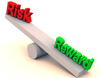 Risk and reward balance. Risk and reward on a simple balance, showing relation between risk and reward in investment and business terms Stock Photos