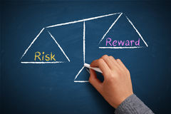 Risk and reward balance. Hand with chalk is drawing Risk and reward balance scale on the chalkboard Royalty Free Stock Photo