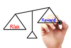 Risk and reward balance. Hand with marker is drawing Risk and reward balance scale on the transparent white board Royalty Free Stock Images
