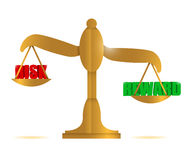 Risk and reward balance illustration Stock Photos