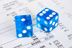 Risk and reward in business. Dices concepts the risk and reward in business royalty free stock photo