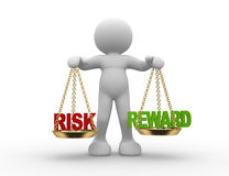 Risk or reward. 3d people - man , person with risks and rewards of a situation or issue on a scale Royalty Free Stock Images
