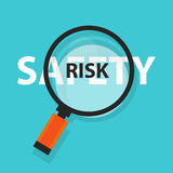 Risk safety concept business analysis magnifying glass symbol Royalty Free Stock Photo