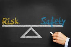 Risk and security safety equilibrium. Concept on blackboard Royalty Free Stock Photos