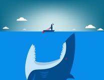 Risk. Shark attacking businessman. Concept business illustration. Vector flat Stock Photos