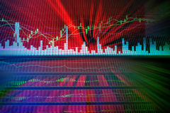 Risk of stock market with red color for background Stock Photography