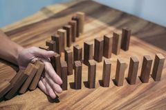 Risk and strategy in business, Close up of businessman hand stop Royalty Free Stock Photography