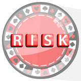 RISK TABLE GAMES CONCEPT. FISH POKER RED. Shovel, diamond, club and heart Stock Photo