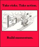 Risk Taker. Business cartoon about the positive and negative of taking risk Royalty Free Stock Photo