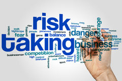 Risk taking word cloud. Concept on grey background Stock Photo