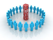 Risk Teamwork. Three dimensional illustration of Teamwork and Risk Concept made with pictogram people Royalty Free Stock Image
