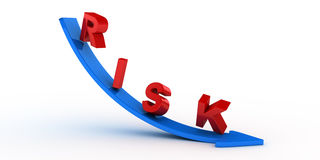 Risk text on blue arrow Royalty Free Stock Image