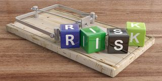 Risk text on colorful cubes and a mouse trap, wooden floor background. 3d illustration. Word risk letters on colorful cubes and a mouse trap, wooden floor Royalty Free Stock Images