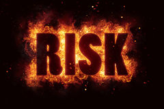 Risk text flame flames burn burning hot explosion. Explode Royalty Free Stock Photos
