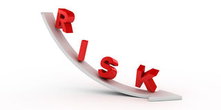 Risk text on white arrow Stock Photo