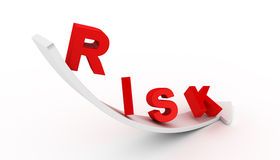 Risk text on white arrow Stock Photography